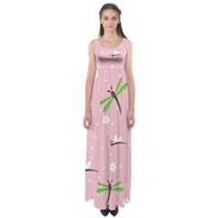 Dragonfly And White Flowers Pattern Empire Waist Maxi Dress