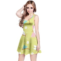 Colorful Dragonflies And White Flowers Pattern Reversible Sleeveless Dress