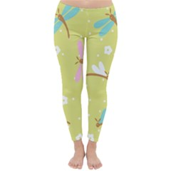 Colorful Dragonflies And White Flowers Pattern Classic Winter Leggings