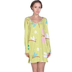 Colorful Dragonflies And White Flowers Pattern Long Sleeve Nightdress