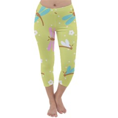 Colorful Dragonflies And White Flowers Pattern Capri Winter Leggings
