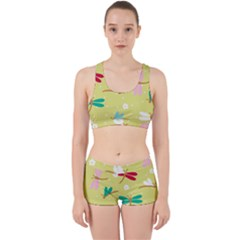Colorful Dragonflies And White Flowers Pattern Work It Out Sports Bra Set