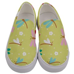 Colorful Dragonflies And White Flowers Pattern Men s Canvas Slip Ons