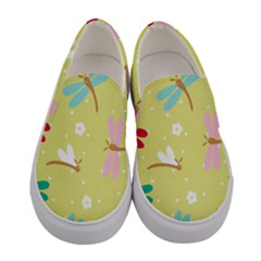 Colorful Dragonflies And White Flowers Pattern Women s Canvas Slip Ons