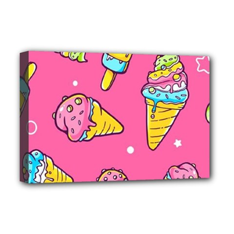 Summer Ice Creams Flavors Pattern Deluxe Canvas 18  X 12