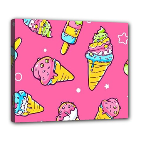Summer Ice Creams Flavors Pattern Deluxe Canvas 24  X 20