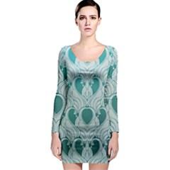Teal Art Nouvea Long Sleeve Bodycon Dress