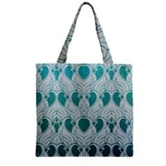 Teal Art Nouvea Zipper Grocery Tote Bag