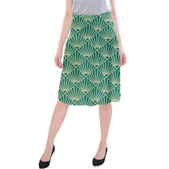 Green Fan  Midi Beach Skirt