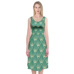 Green Fan  Midi Sleeveless Dress