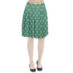 Green Fan  Pleated Skirt