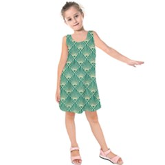 Green Fan  Kids  Sleeveless Dress