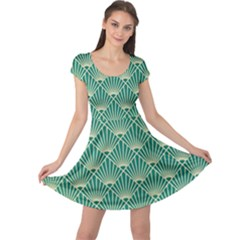 Green Fan  Cap Sleeve Dress