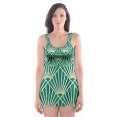 Green Fan  Skater Dress Swimsuit