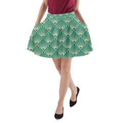 Green Fan  A Line Pocket Skirt
