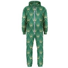 Green Fan  Hooded Jumpsuit (men)