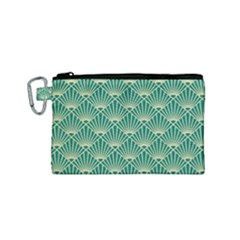 Green Fan  Canvas Cosmetic Bag (small)