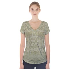 Shooting Stars Over The Sea Of Calm Short Sleeve Front Detail Top