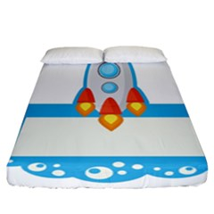Rocket Spaceship Clip Art Clipart Fitted Sheet (california King Size)