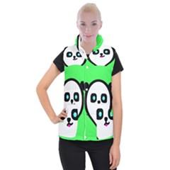 Panda Bear Women s Button Up Puffer Vest