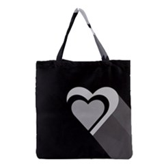 Heart Love Black And White Symbol Grocery Tote Bag