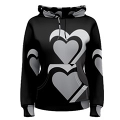 Heart Love Black And White Symbol Women s Pullover Hoodie
