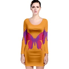 Butterfly Wings Insect Nature Long Sleeve Bodycon Dress