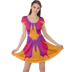 Butterfly Wings Insect Nature Cap Sleeve Dress