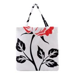 Flower Rose Contour Outlines Black Grocery Tote Bag