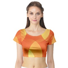 Abstract Orange Yellow Red Color Short Sleeve Crop Top
