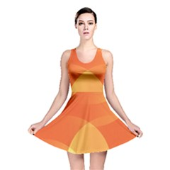 Abstract Orange Yellow Red Color Reversible Skater Dress