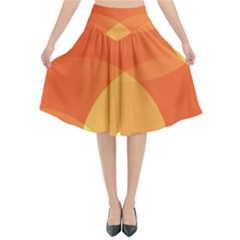 Abstract Orange Yellow Red Color Flared Midi Skirt