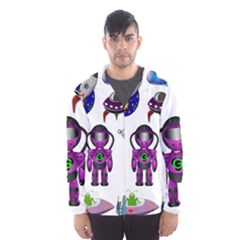 Space Clip Art Aliens Space Craft Hooded Wind Breaker (men)
