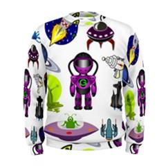 Space Clip Art Aliens Space Craft Men s Sweatshirt