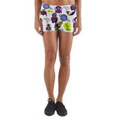 Space Clip Art Aliens Space Craft Yoga Shorts