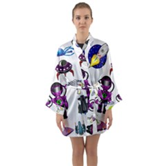 Space Clip Art Aliens Space Craft Long Sleeve Kimono Robe