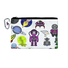 Space Clip Art Aliens Space Craft Canvas Cosmetic Bag (medium)
