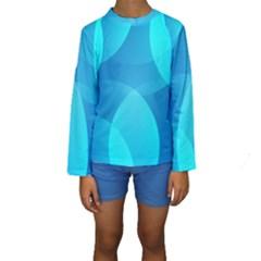 Abstract Blue Wallpaper Wave Kids  Long Sleeve Swimwear