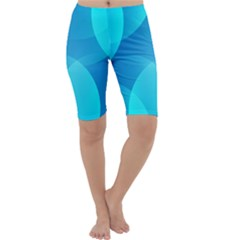 Abstract Blue Wallpaper Wave Cropped Leggings