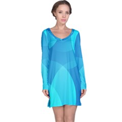 Abstract Blue Wallpaper Wave Long Sleeve Nightdress