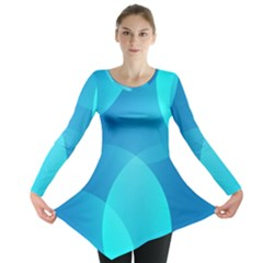 Abstract Blue Wallpaper Wave Long Sleeve Tunic