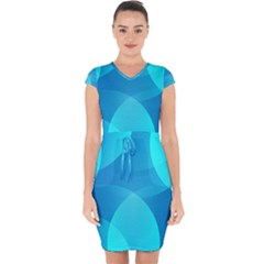 Abstract Blue Wallpaper Wave Capsleeve Drawstring Dress