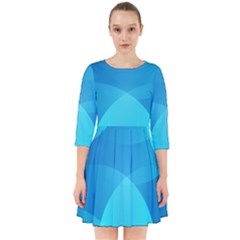 Abstract Blue Wallpaper Wave Smock Dress