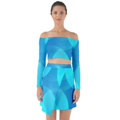Abstract Blue Wallpaper Wave Off Shoulder Top With Skirt Set