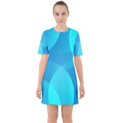 Abstract Blue Wallpaper Wave Sixties Short Sleeve Mini Dress