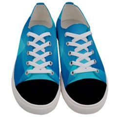 Abstract Blue Wallpaper Wave Women s Low Top Canvas Sneakers