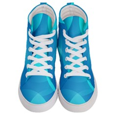 Abstract Blue Wallpaper Wave Women s Hi Top Skate Sneakers