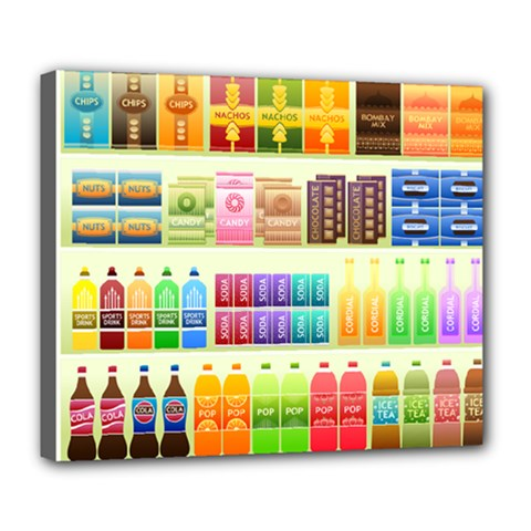 Supermarket Shelf Products Snacks Deluxe Canvas 24  X 20