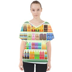 Supermarket Shelf Products Snacks V Neck Dolman Drape Top