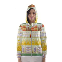 Supermarket Shelf Coffee Tea Grains Hooded Wind Breaker (women)